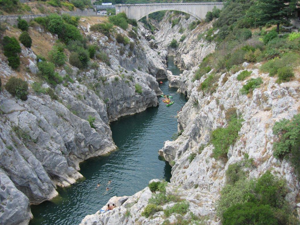Kayak Gorges Hérault vue aérienne